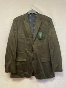 $295 Ralph Lauren Faux Suede Classic Fit Two-Button Blazer Olive Size 42 Long
