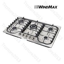 "US Seller ~ WindMax 34""  Stainless Steel 5 Burner Built-In Stoves Gas Cooktops"