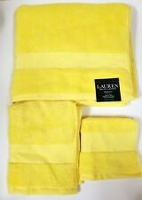 NEW RALPH LAUREN WESCOTT 3 PC SET COTTON CANARY YELLOW BATH+HAND+WASH CLOTHTOWEL