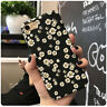 For iPhone X 8 Plus 7 6S Trendy Black Daisy Flower Floral Hard Full Case Cover
