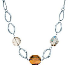 Crystal Effects - Annaleece Rhodium Necklace With Crystal Golden Shadow ...