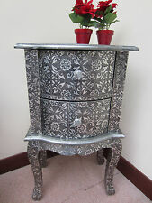 BLACK/SILVER EMBOSSED BEDSIDE TABLE 2 DRAWER BEDROOM CABINET LAMP HALL SALON