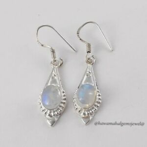 Solid 925 Silver Rainbow Jewelry Sterling Natural Moonstone Handmade Earring