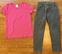Hanna Andersson Pink Short Sleeve Top Corduroy Leggings Outfit Lot Sz 110 5