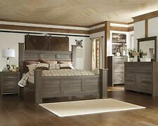 Ashley Juararo B251 King Size Poster Bedroom Set 6pcs in Dark Brown Casual Style
