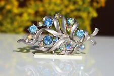 BROOCH vintage beautiful flower blue crystals Aurora Borealis