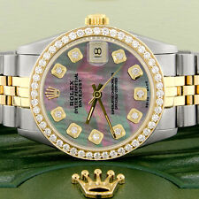 Rolex Datejust 2-Tone Gold/Steel 31mm Womens w/Tahitian MOP Diamond Dial & Bezel