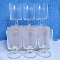 Vintage USAir Airlines 4 Ounce Wine Glasses Set of 6 Luminarc Made in France