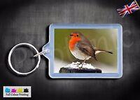 Red Robin bird Keyring Premium Quality Split Rings Key Fob Family Christmas Gift