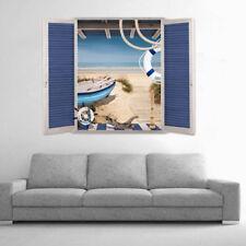 Wandtattoo Wandaufkleber 3D Effekt Fenster Strand Meer Landschaft 50x70 cm