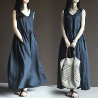 Womens Ladies Cotton Linen V Neck Sleeveless Maxi Dress Casual Loose Gown Tops