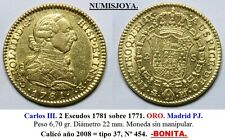 Carlos III. 2 Escudos 1781 sobre 1771. ORO. Madrid PJ. Peso 6,70 gr. Diámetro 22