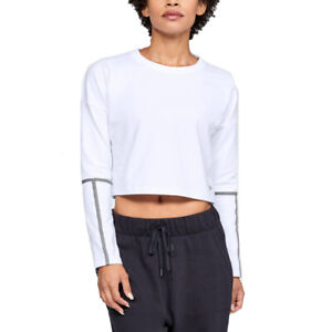 Under Armour Lighter Longer Cropped Crew White Ladies Long Sleeved Crop Top S