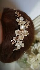 Flower Crystal Diamante Ivory Pearl Side Hair headband Wedding Bridal Rose Gold