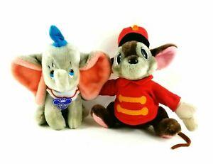 VINTAGE Walt disney World DUMBO Elephant Timothy Mouse stuffed Plush Set