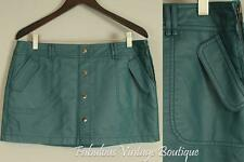 BLANCO Teal Blue Faux Leather Pleather Vintage Style Mini Skirt 42
