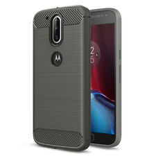 Carbon Fibre Brushed TPU Case for Motorola Moto G4 / G4 Plus - Grey