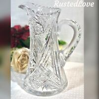 Antique American Brilliant Crystal Water Pitcher Pinwheel, X, Star of David Cuts
