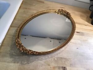 "Vintage 17"" x 9"" oval vanity mirror perfume dresser tray gold filigree"