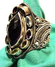 Sterling Silver Ring From India 16x8mm Marquise Purple Stone 10 multi color side
