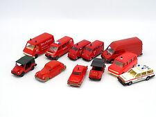 Divers 1/87 HO - Lot de 11 véhicules Pompiers Feuerwehr : DKW Volvo Opel VW ..
