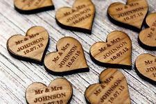 Mrs & Mrs Wedding Table Decorations – Personalised Darkwood/Walnut Love Hearts