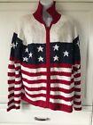 Tiara Int'l Sweater Sz L USA Patriotic Stars Stripes Red White Blue Sequins Zip