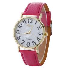 Ladies Fashion Gold Geneva Platinum Quartz White Faced Rose Red Band Wrist Watch