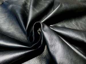 lambskin leather hide Jet Black Grainy Textured light weight semi gloss