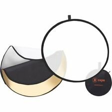 """Raya 5-in-1 Collapsible Reflector Disc 32"""" White Silver Gold and Black Surfaces"""