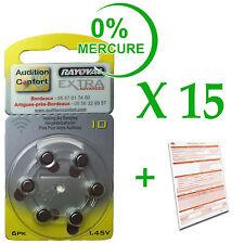 15 plaquettes de 6 piles auditives RAYOVAC N° 10  (PR70) free mercure