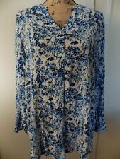 WOMAN'S BLUE,WHITE,FLORAL LONG SLEEVE BLOUSE,SIZE M,WOMAN WITHIN