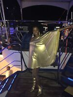 Baylis & Knight Gold Lame STUDIO 54 Glam 70's Bat Wing One Shoulder DISCO Dress