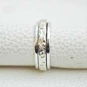 Solid 925 Sterling Silver Spinner Ring Meditation Ring Statement Ring Size a8972