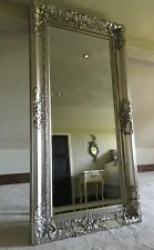 ANTIQUE SILVER LARGE FRENCH OVER MANTLE BEVELLED WOOD WALL MIRROR 4FT  3FT