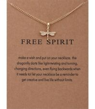 Free Spirit Dragonfly Gold Dipped Pendant Inspirational Message Necklace Gift