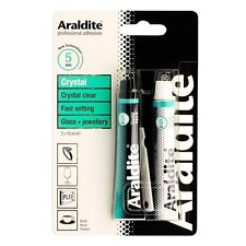 Araldite Crystal 2 x 15ml Tube Clear Epoxy Power Glass Jewellery Adhesive 5 Mins