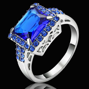 Size 9 Blue Sapphire Crystal Ring Women's white Rhodium Plated Wedding Band