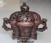 """11"""" Marked Chinese Bronze Dragon Lion Beast Bamboo Incense Burners Censer"""
