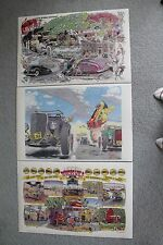 ROBERT WILLIAMS DEUCES WILD Poster HOT ROD RACE Large Set Ford Model A Car Art
