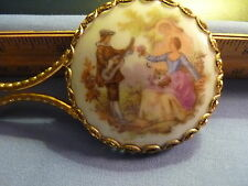 Vintage Hand Colored Pocket Mirror By Limoges
