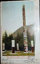 1907 Sitka, Alaska Memorial Totem, Finest in Alaska, Hand Tinted Postcard