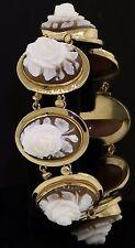 Antique 14K gold deeply carved 20 X 14.5mm Rose flower cameo link bracelet
