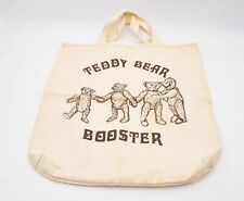 Medium Teddy Bear Booster print beige canvas shopping tote bag, cute and sweet!
