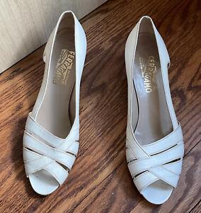 Ferragamo white low heel open toe shoes size 10 B