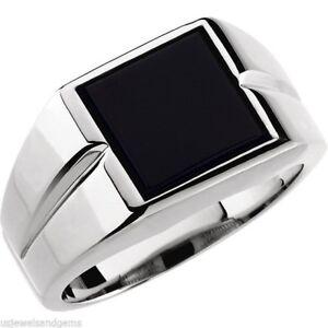 New Men's 0.925 Sterling Silver Genuine Black Onyx Open Back Ring