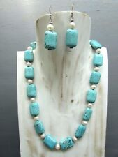 """16"""" Turquoise Fresh Water Pearl Necklace Free Earrings US seller!!!"""