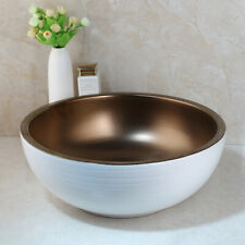 Round Bathroom Ceramic Vessel Sink Wash Basin White & Brown With Waste Pop Drain