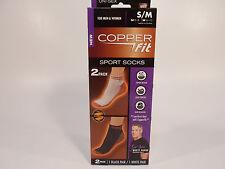 2 NIB Copper Fit Ankle Socks (2 Pair), Black & White Small Medium M 5-9 W 6-10
