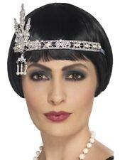 PLATA pedrería Banda De Cabeza Flapper años 20 Gatsby Accesorio disfraz